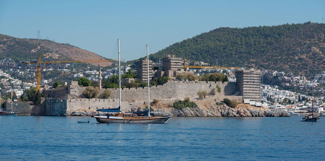 Turkish city of bodrum on the turkish coast of the aegean sea. mediterranean sea
