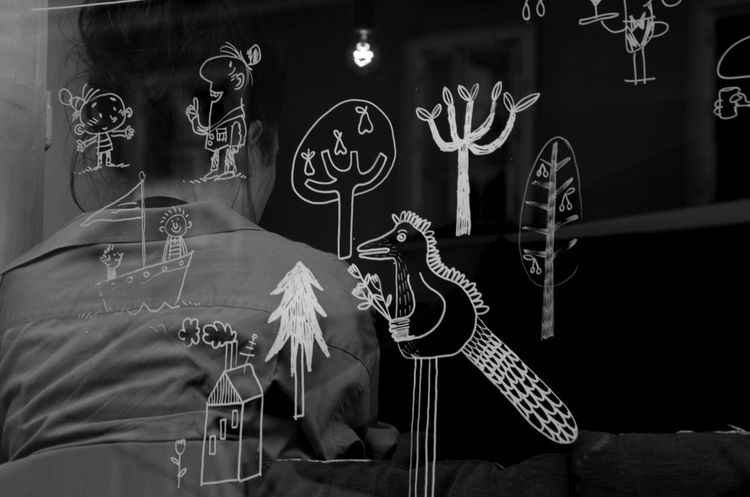 Black & White Black And White Blackandwhite Glass Glass Art Graffiti Indoors  Lubiana People Public Transportation Rear View Rear View Mirror Reflection Slovenia Window Woman