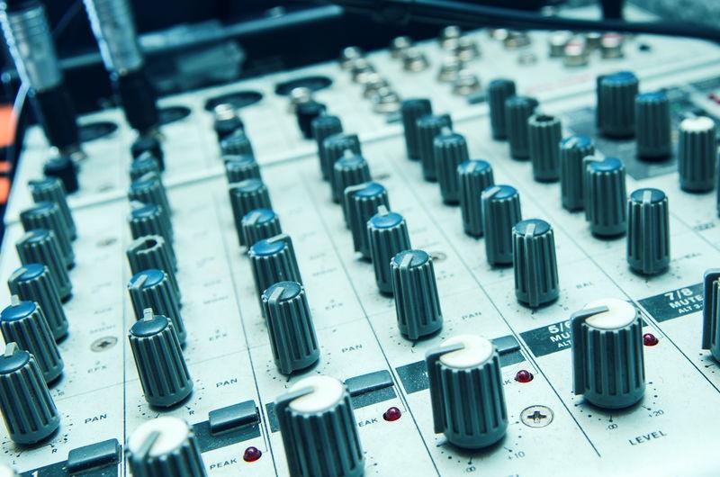 Full frame shot of sound recording equipment