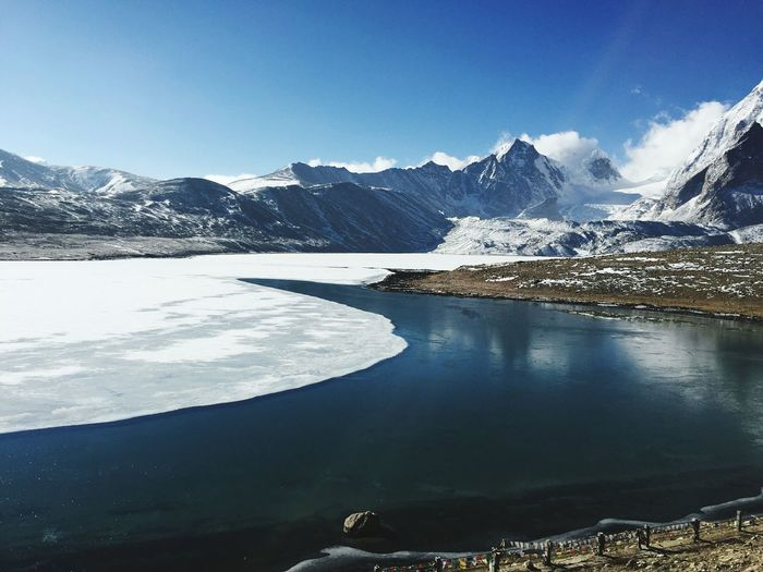 SCENIC VIEW OF GURUDOGMAR LAKE IN WINTER