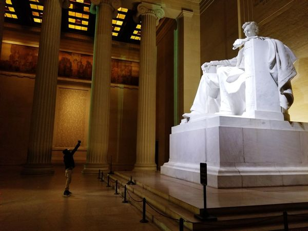#His #Story #Lincoln #lincolnmemorial #lincolnmonument Lies Abraham Lincoln Statue Lincoln Statue WashingtonDC Caged Modernday Freedom Locked Photography Vibes Colors Sculpture Architectural Column Architecture