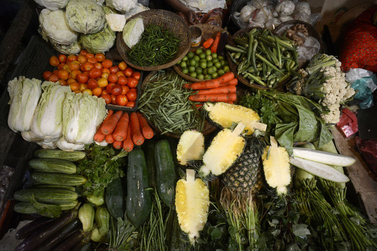 High angle view of various vegetables for sale at street market