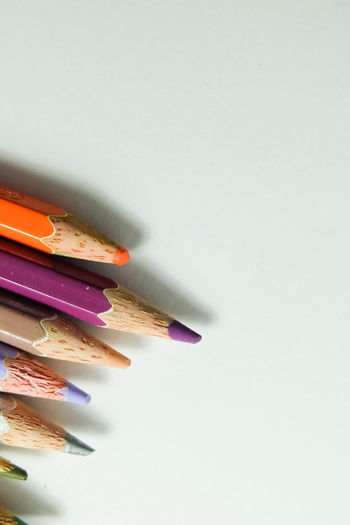 Colors Art And Craft Art And Craft Equipment Close-up Colored Pencil Colorful Pencil White Background Wood Colored Pencils Wood Colors