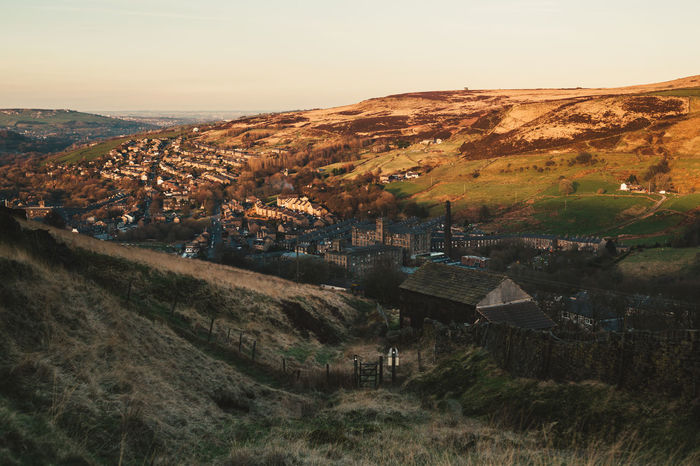 Aerial View Architecture Built Structure City Cityscape Dark Peak England Huddersfield Landscape Marsden Mill Mountain Nature No People Outdoors Peak District  Sky Sunset Valley