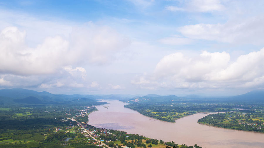 Aerial view of Khong river from sky walk Nong Khai Thailand Agriculture City LAO Aerial View Cloud - Sky Day Environment Khong Landscape Mountain Nature Nongkhai Outdoors River Scenics - Nature Sky Skywalk Water