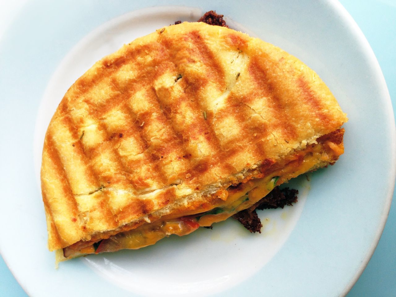 High Angle View Of Panini Served In Plate