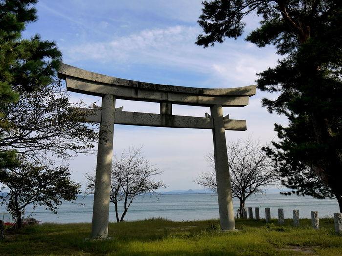 Grass Idyllic Lake Lake Biwa Landscape No People Sky Stone Torii Tranquil Scene Tranquility Tree Water Water Reflections
