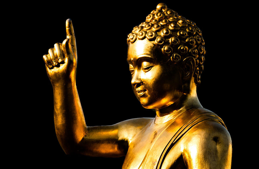 Golden buddha statue finger pointing to the sky Art And Craft Belief Black Background Close-up Craft Creativity Finger Pointing Gold Gold Colored Human Body Part Human Representation Indoors  Male Likeness Religion Representation Sculpture Spirituality Statue Studio Shot