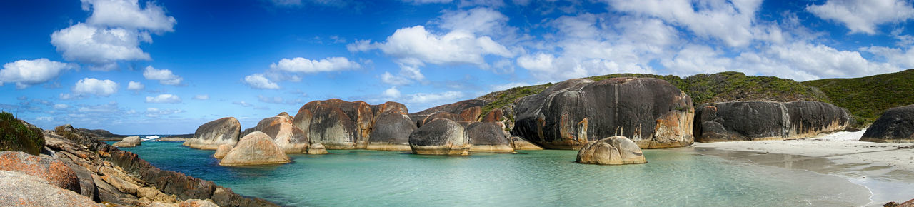 Beauty In Nature Cloud - Sky Elephant Rocks Environment Lagoon Land Landscape Nature No People Outdoors Panoramic Rock Rock - Object Rock Formation Scenics - Nature Sea Sky Solid Tranquility Travel Travel Destinations Turquoise Colored Water