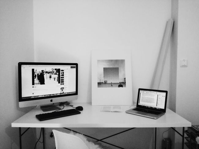 Technology Indoors  Table Computer Computer Monitor Screen Laptop Communication Device Screen Home Interior Computer Keyboard Desk Architecture Minimalism Blackandwhite Photography Home Sweet Home Work Workingplace Austria Styria