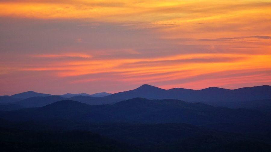 High Angle View Of Dramatic Sky Over Mountain Range