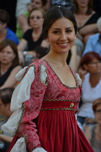 Portrait Arts Culture And Entertainment Waist Up Looking At Camera Traditional Clothing Actress Adult Performing Arts Event Period Costume Performance People Smiling Fan - Enthusiast Film Industry Abruzzo Abruzzo - Italy Sulmona Giostra Cavalleresca Sulmona