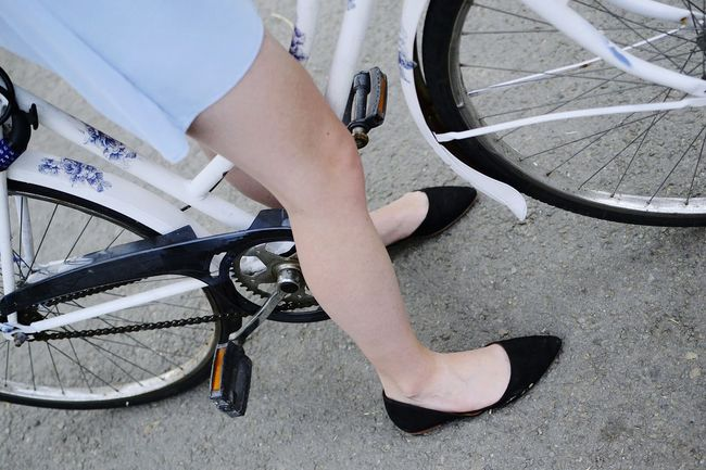 Legs Pale Skin Young Women Feet Shoes Ballet Flats Black Shoes Fashon Summer Fashion Blue Dress Blue Dress Pastels Bike Ride Bike Legs And Bike Detail Bicycle Shabby Chic Exploring The Week On Eyem