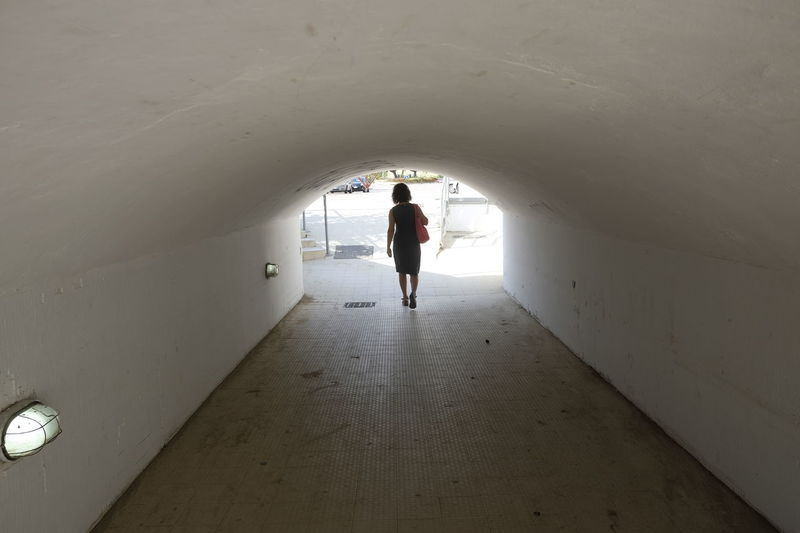 Underpass Adult Architecture Day Full Length Indoors  One Person People Real People Standing Subway Walking