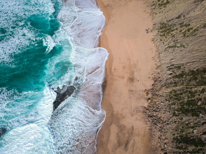 Aerial view of sandy beach with waves and clear ocean water. Drone photo Top View Water Day Motion Beauty In Nature Scenics - Nature Beach Sandy Beach Waves, Ocean, Nature Aerial View Ocean View Coastline Atlantic Ocean Cliff Turquoise Water Tropical Travel Outdoors Sea Ocean Portugal Foamy Waves Landscape Dronephotography Wallpaper