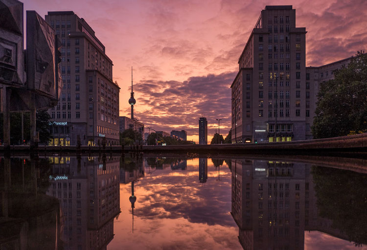 Sunset am Straußberger Platz Architecture Building Exterior Built Structure City Cloud - Sky Day Nature No People Outdoors Reflecting Pool Reflection Sky Sunset Water Waterfront EyeEmNewHere