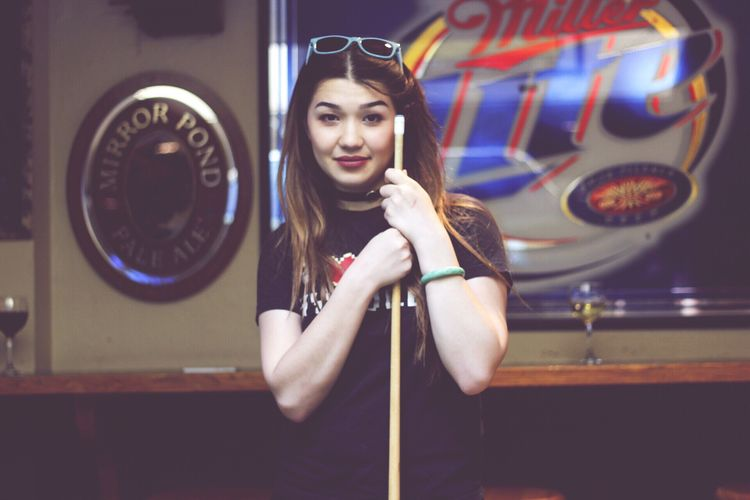 One Person Long Hair Young Women Pool Table Pool Stick Leisure Activity