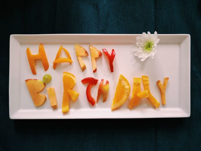 Happy Birthday fruit salad Food And Drink Food Freshness Healthy Eating Still Life Fruit Wellbeing High Angle View No People Text Plate Strawberry Berry Fruit Tray