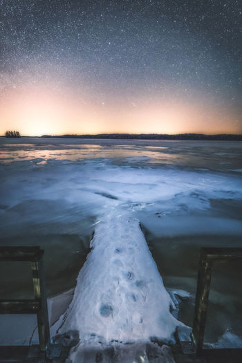 Brave or Stupid? Nightphotography Beauty In Nature Clear Sky Cold Temperature Frozen Ice Nature Night No People Outdoors Scenics Sea Sky Snow Stars Tranquil Scene Tranquility Water Winter