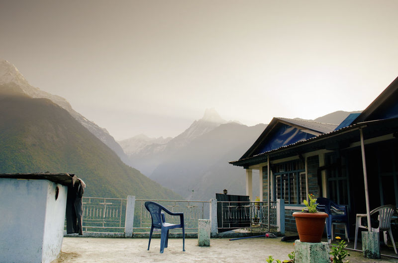 Machapuchare, Himalayas Guest House; Annapurna Circuit; Himalaya; Mountain Range; Himalayas; Machapuchare; Fish Tail Mountain; Nepal; Annapurna Base Camp Route; Morning Sun; Daylight Architecture Beauty In Nature Building Exterior Built Structure Clear Sky Day Mountain Mountain Range Nature No People Outdoors Sky