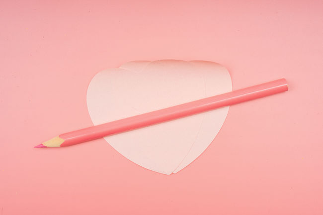 Close-up Colored Background Copy Space Directly Above Heart Shape High Angle View Indoors  Paper Pencil Pink Background Pink Color Still Life Studio Shot Two Objects