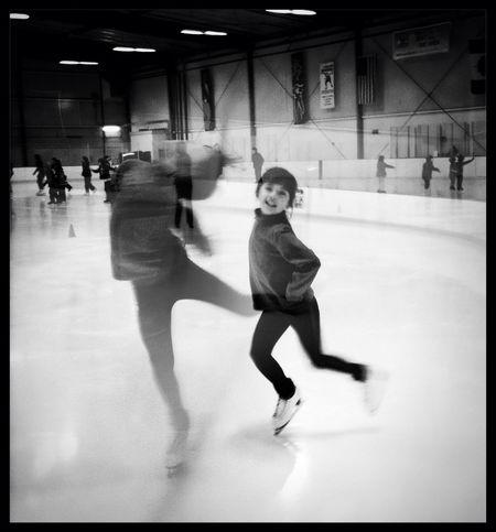 Having fun at Oakland Ice Center No Flash Claunch 72 Monochrome Film Having Fun