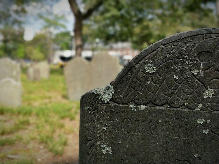 Graveyard Boston Massachusetts Tombstone Cemetery Focus On Foreground Grave Close-up Outdoors Textured  Shotononeplus5