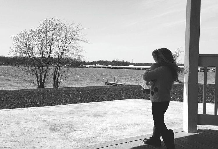 Full Length Of Girl Standing Against Sky