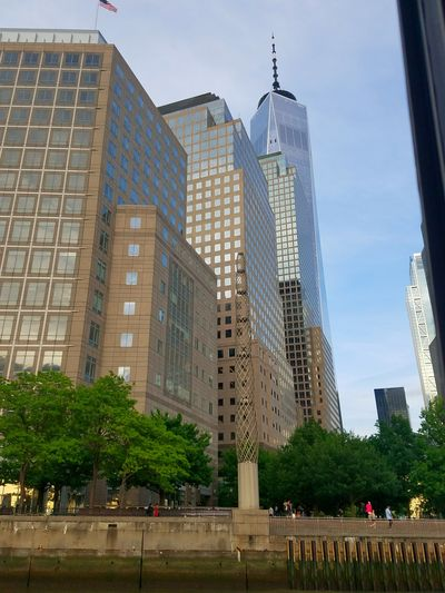 Photo taken as I was departing from the WFC pier (5/20/2018) New York City Tree Modern Skyscraper Urban Skyline Cityscape Business Finance And Industry Sky Architecture Building Exterior Tall - High Spire