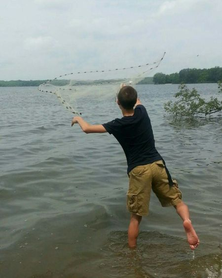 Fishing throwing net water river lake Fishing Net Netbait Ohio, USA Water