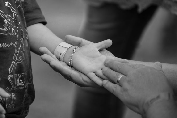 Close-up of people with holding hands