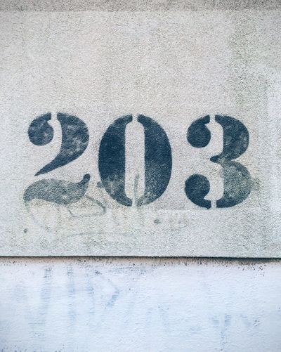 203 203 Wall Number Gray No People Outdoors Day Close-up Black White Street