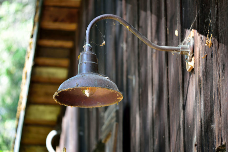 The Barn 4 Dry Creek Garden Old Barn Wood Structure Rustic Weathered Façade Underside Of Roof Lamp Spider Webs Bokeh Hanging Light Sideview Of Barn Background Defocus Garden Photography Nature Nature_collection Beauty In Nature Hanging Light Exterior Dry Creek Pioneer Regional Park
