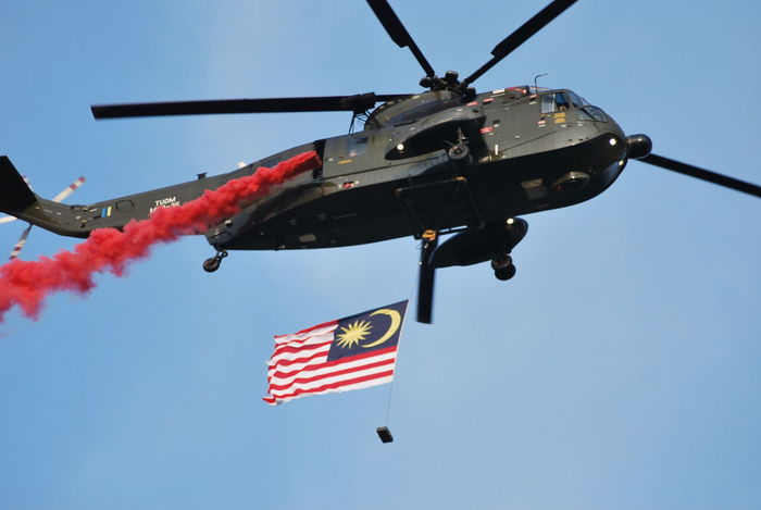 Smoke Helicopter Skyblue Celebration Flag Anniversary Malaysia Military Helicopters Helicopter 🚁 Society Holiday Sky Smoke♥ Showcase July