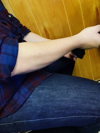 Low Section Human Leg Real People Sitting Human Body Part Casual Clothing Indoors  Jeans Relaxation Human Hand Day Young Adult Close-up EyeEmNewHere Forearm Veins Toned Muscle EyeEm Best Shots EyeEm EyeEmBestPics EyeEmNewHere EyeEmNewHere