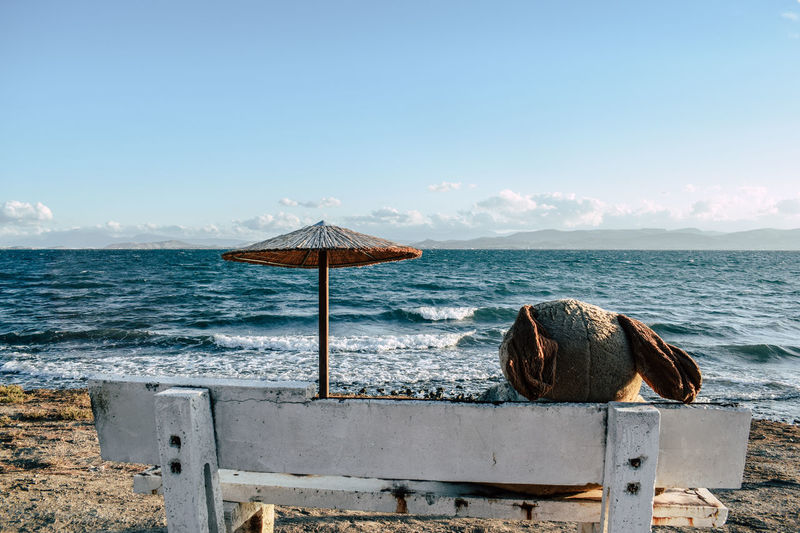 Teddy bear on bench at beach against blue sky during sunny day
