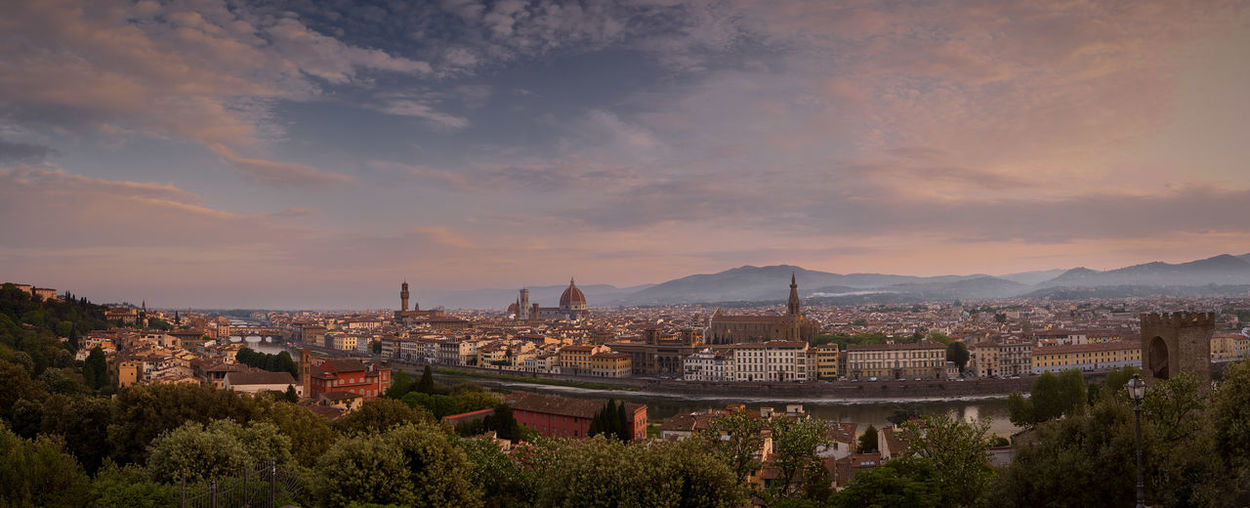 Panorama Toscana Architecture Building Building Exterior Built Structure City Cityscape Cloud - Sky Florenz High Angle View Nature No People Outdoors Plant Residential District Sky Sunset Travel Destinations Tree