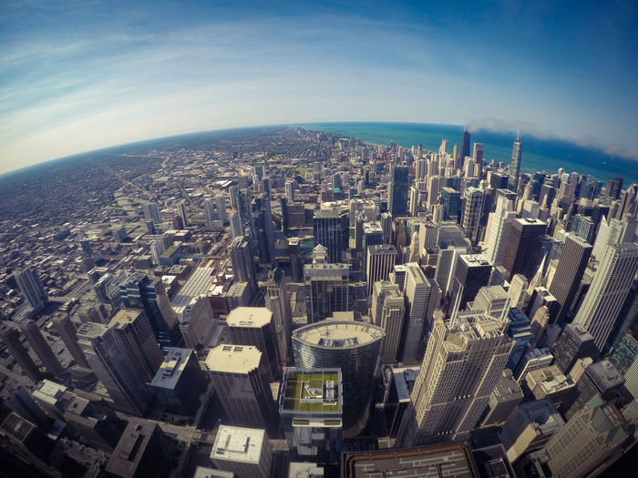 Cityscape Skyscraper City Architecture Travel Destinations Modern Building Exterior Aerial View Urban Skyline High Angle View Downtown District No People Outdoors Sky Day Chicago Chicago Downtown