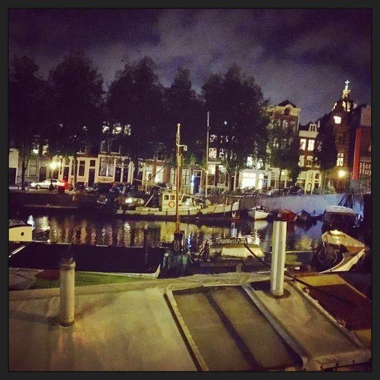Amsterdam Walking Around The City  Night Houseboats