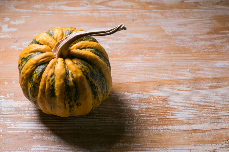 High angle view of pumpkin on table