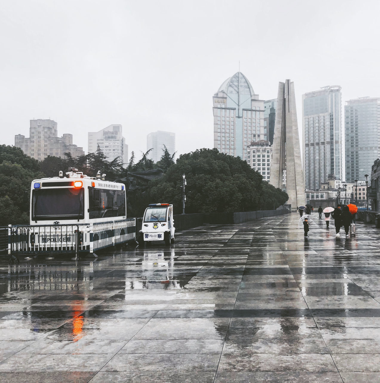 CITY BUILDINGS DURING RAINY SEASON
