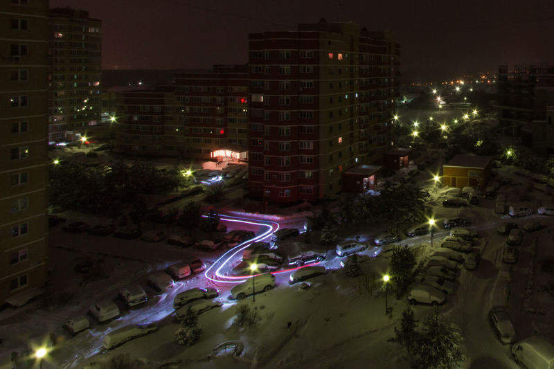 Night freeze lights Night City Cityscape Winter Lights Freezlight Colors Car Architecture Wide Angle Long Exposure Russia Россия родники Canon 60d Canon 10-22 Cityscape Illuminated Aerial View Hockey