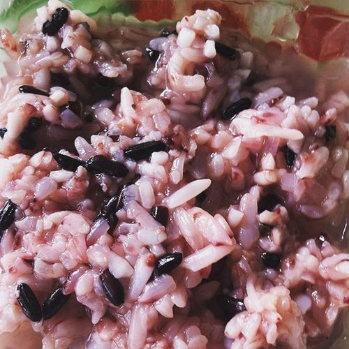 """Tape injin"" fermentation black rice as the dessert on Galungan Ceremony Tape Blackrice Ricepuding Love Food Instafoodie"