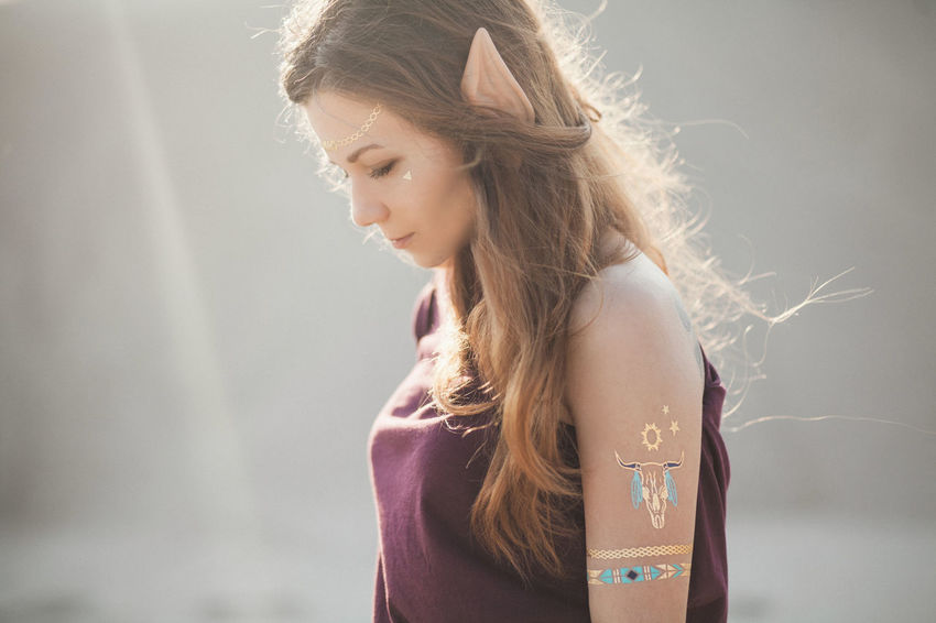 Young attractive woman with elf ears Bright Dreaming Dreamy Elf Elf Ears Fairytale  Festical Flash Tattoo Lifestyles Light Long Hair Magic Magical Portrait Sunshine Sunshine ☀