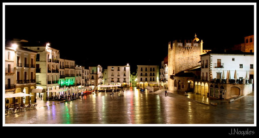 Illuminated Night Street City Architecture Travel Destinations Cityscape Building Exterior History Medieval Extremadura, Spain Cáceres Plaza Mayor