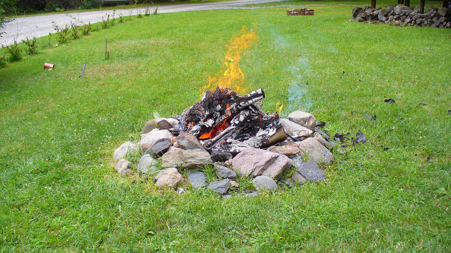 Daytime Camp Fire Camping Cooking Fire Pit Firepit Burning Campground Field Fire Flame Nature No People Outdoors
