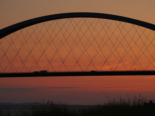 Architecture Beauty In Nature Bridge - Man Made Structure Built Structure Connection Day Nature No People Outdoors River Silhouette Sky Sunset Transportation Tree Water Fehmarnsundbrücke Fehmarn