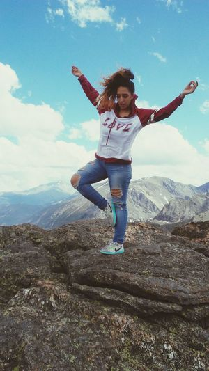 """""""in the Rockies Rockin"""" Peace Health Love Rocks Sky Clouda Rockies Mountains Mountain Yoga Pose Yoga Mom Young Women Human Hand Full Length Smiling Cheerful Happiness Portrait Women Motion Excitement Energetic Energy Posing First Eyeem Photo"""