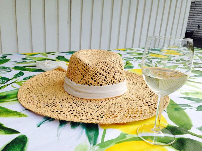 Where I lay my hat Hat Sunhat Wineglass Hanging Out Enjoying Life Oringe Solstensvägen