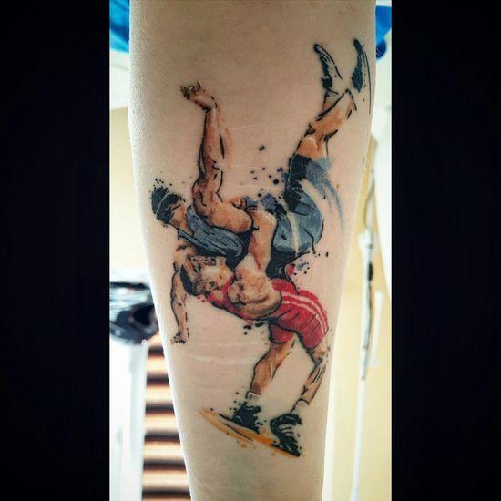 Tattoo Tattooed Wrestling Wrestlers Color Tattoo Sport Skin Wrestlemania